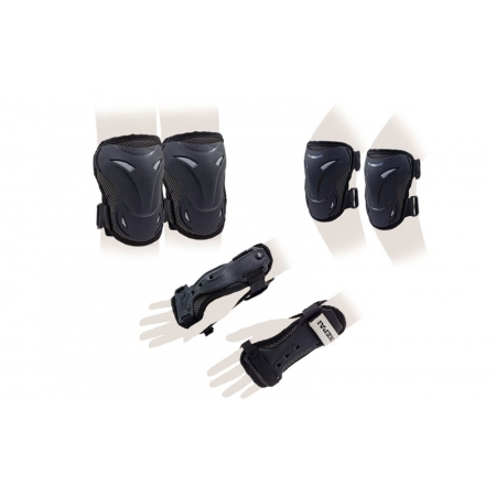 Защита спорт. наколенники, налокот., перчатки детская KEPAI LP-630-M (р-р M-8-12лет, черный)