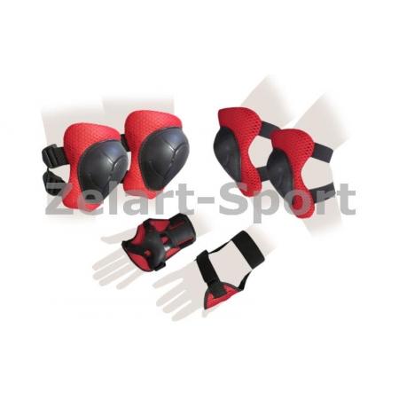 Защита спорт. наколенники, налокот., перчатки детская SK-4504 (р-р M-5-8, синяя, розовая, красная)