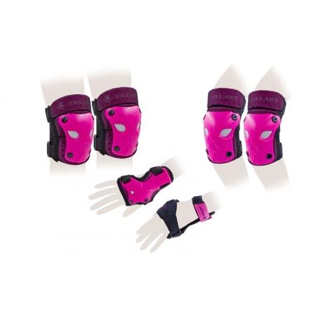 Защита спорт. наколенники, налокот., перчатки детская ZEL SK-3503P-M (р-р M-8-12лет, розовая)