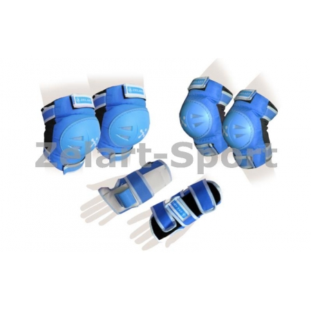 Защита спорт. наколенники, налокот., перчатки детская ZEL SK-3504B-M (р-р M-8-12лет, голубая)