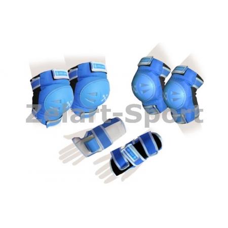 Защита спорт. наколенники, налокот., перчатки детская ZEL SK-3504B-S (р-р S-3-7лет, голубая)