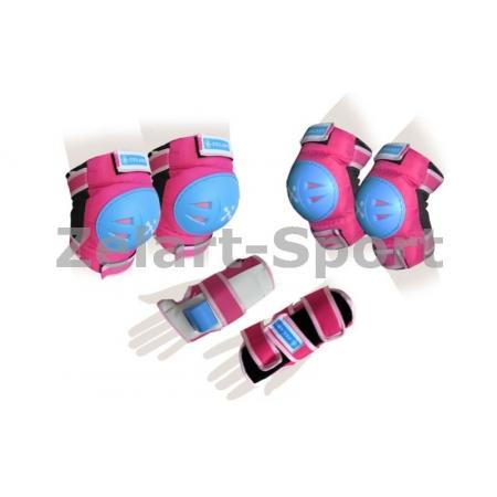Защита спорт. наколенники, налокот., перчатки детская ZEL SK-3504P-M (р-р M-8-12лет, розовая)
