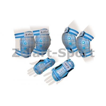 Защита спорт. наколенники, налокот., перчатки детская ZEL SK-4678BL-M CANDY (р-р S-8-12лет, голубая)