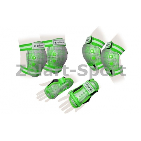 Защита спорт. наколенники, налокот., перчатки детская ZEL SK-4678G-M CANDY (р-р M-8-12лет, зеленая)