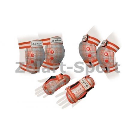 Защита спорт. наколенники, налокот., перчатки детская ZEL SK-4678OR-M CANDY (р-р M-8-12лет, оранж)