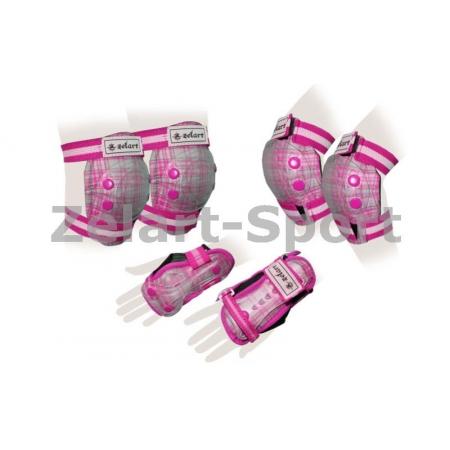 Защита спорт. наколенники, налокот., перчатки детская ZEL SK-4678P-M CANDY (р-р M-8-12лет, розовая)