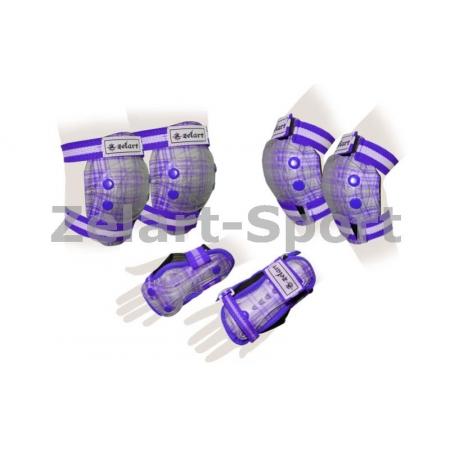 Защита спорт. наколенники, налокот., перчатки детская ZEL SK-4678V-S CANDY (р-р S-3-7лет,фиолетовая)