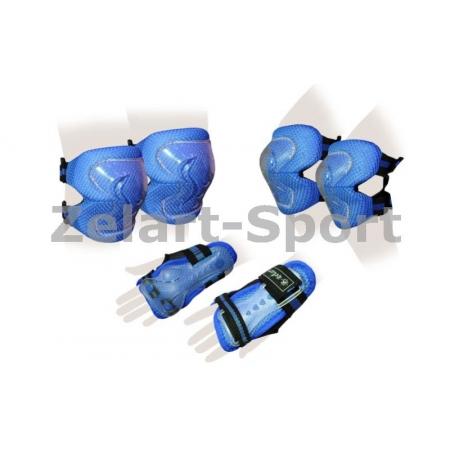Защита спорт. наколенники, налокот., перчатки детская ZEL SK-4679B-S LUX (р-р S-3-7лет, синяя)