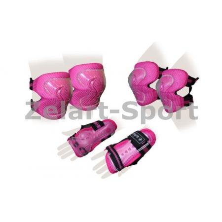Защита спорт. наколенники, налокот., перчатки детская ZEL SK-4679P-M LUX (р-р M-8-12лет, розовая)