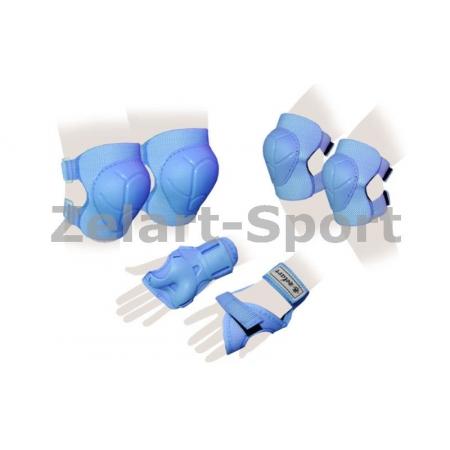 Защита спорт. наколенники, налокот., перчатки детская ZEL SK-4684B-S ENJOYMENT (р-р S-3-7лет, синяя)