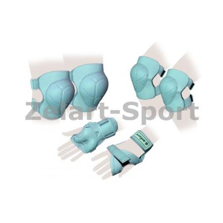 Защита спорт. наколенники, налокот., перчатки детская ZEL SK-4684G-M ENJOYMENT (р-р M-8-12лет, зел)