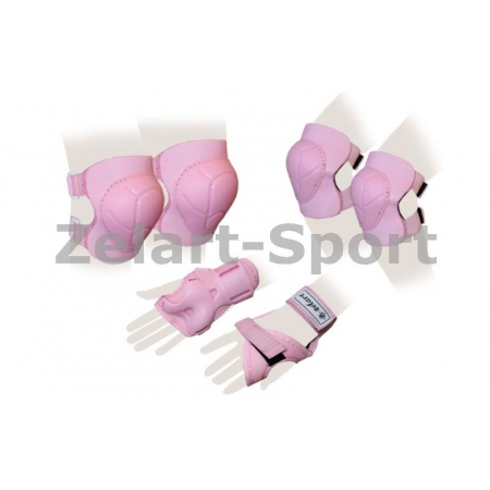 Защита спорт. наколенники, налокот., перчатки детская ZEL SK-4684P-L ENJOYMENT (р-р L-13-15лет, роз)