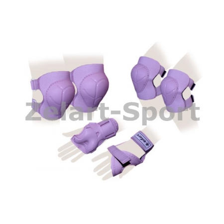 Защита спорт. наколенники, налокот., перчатки детская ZEL SK-4684V-L ENJOYMENT (р-р L-13-15лет,фиол)