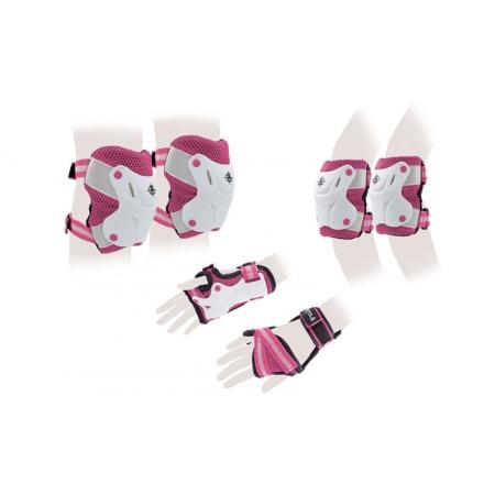 Защита спорт. наколенники, налокот., перчатки детская ZEL Z-7018K(3-7) (р-р 3-7лет, синяя, розовая)
