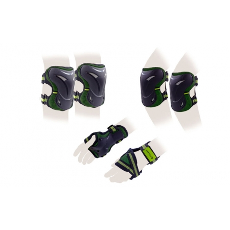 Защита спорт. наколенники, налокот., перчатки для взрослых ZEL SK-3505G-L (р-р L, зеленая)