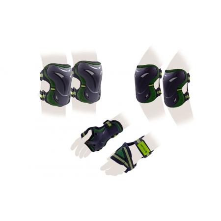 Защита спорт. наколенники, налокот., перчатки для взрослых ZEL SK-3505G-M (р-р М, зеленая)