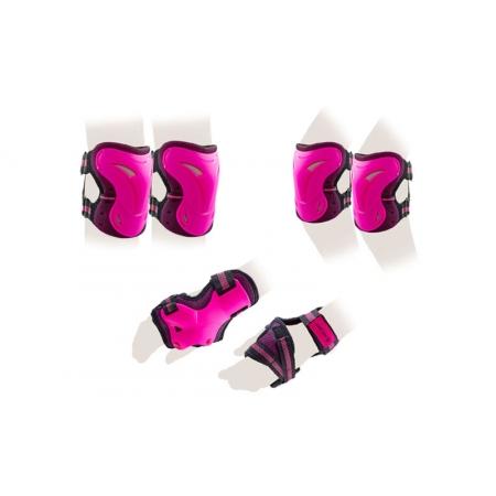 Защита спорт. наколенники, налокот., перчатки для взрослых ZEL SK-3505P-L (р-р L, розовая)
