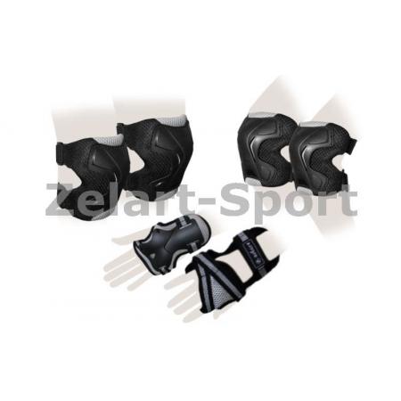 Защита спорт. наколенники, налокот., перчатки для взрослых ZEL SK-4677BK-L GRACE (р-р L, черная)