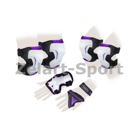 Защита спорт. наколенники, налокот., перчатки для взрослых ZEL SK-4677V-L GRACE (р-р L, фиолетовая)