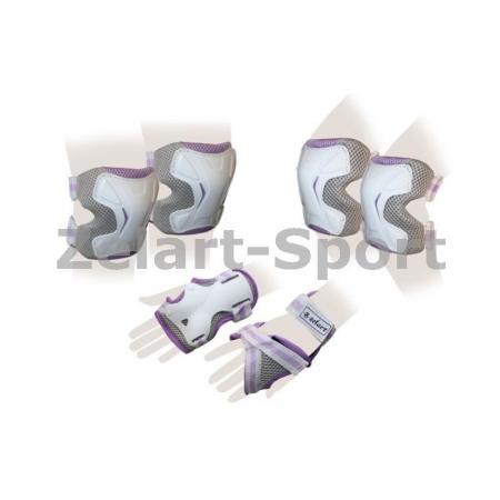 Защита спорт. наколенники, налокот., перчатки для взрослых ZEL SK-4677VG-L GRACE (р-р L, фиолет-сер)