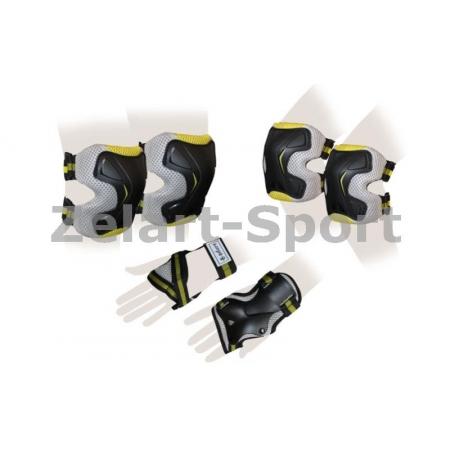 Защита спорт. наколенники, налокот., перчатки для взрослых ZEL SK-4677Y-L GRACE (р-р L, желтая)