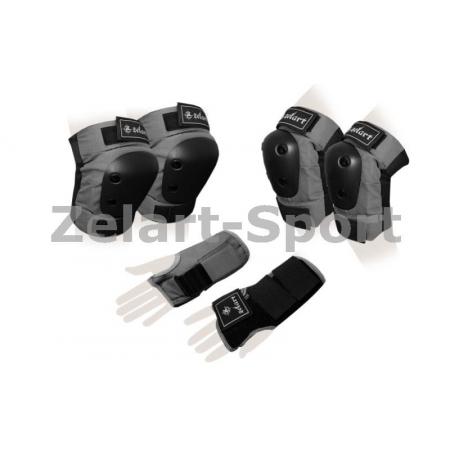 Защита спорт. наколенники, налокот., перчатки для взрослых ZEL SK-4680GR-L METROPOLIS (р-р L, серая)