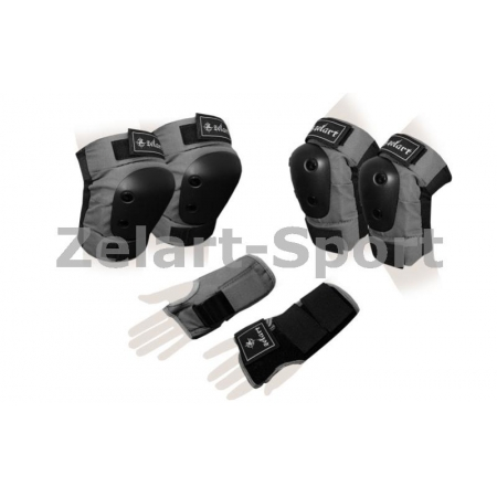 Защита спорт. наколенники, налокот., перчатки для взрослых ZEL SK-4680GR-M METROPOLIS (р-р M, серая)