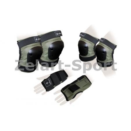 Защита спорт. наколенники, налокот., перчатки для взрослых ZEL SK-4680H-L METROPOLIS (р-р L, хаки)