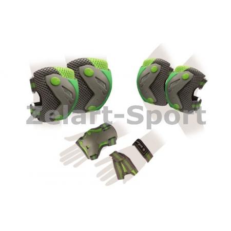Защита спорт. наколенники, налокот., перчатки для взрослых ZEL SK-4685BKG-L PERFECTION (L, сер-зел)