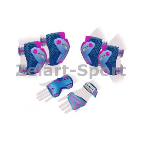 Защита спорт. наколенники, налокот., перчатки для взрослых ZEL SK-4685BP-M PERFECTION (M, сине-роз)