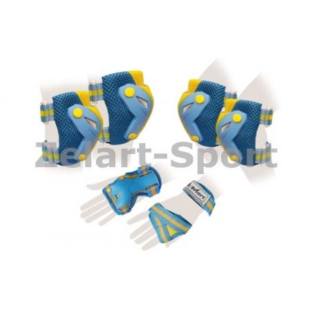 Защита спорт. наколенники, налокот., перчатки для взрослых ZEL SK-4685BY-M PERFECTION (M, сине-желт)