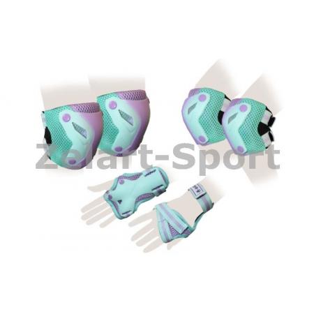 Защита спорт. наколенники, налокот., перчатки для взрослых ZEL SK-4685GV-L PERFECTION (L, зел-фиол)