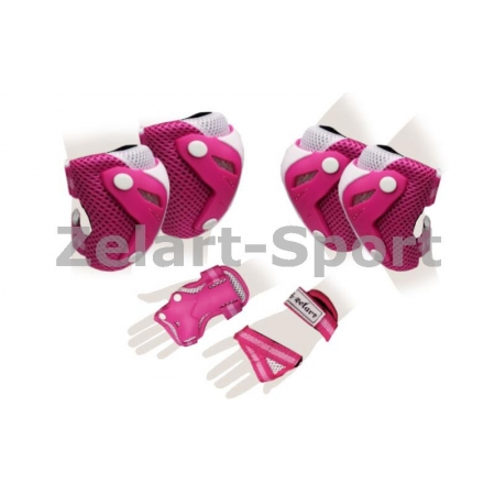 Защита спорт. наколенники, налокот., перчатки для взрослых ZEL SK-4685PW-M PERFECTION (M, роз-бел)