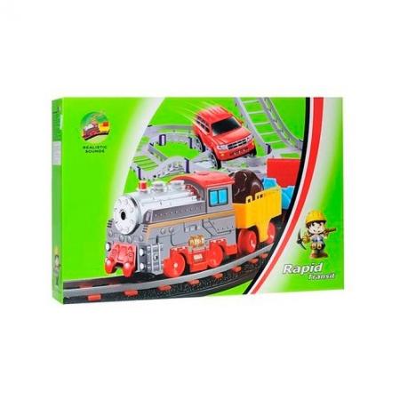Железная дорога и автострада - набор с поездом и машинкой, 74 х 88 см, LiXin, 9911
