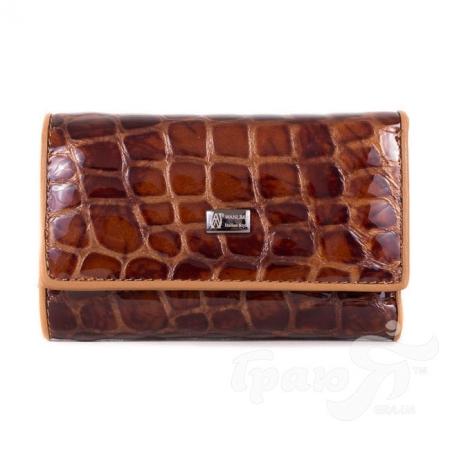 Женская кожаная ключница-кошелек с зеркалом WANLIMA (ВАНЛИМА) W81092670792-light-coffee