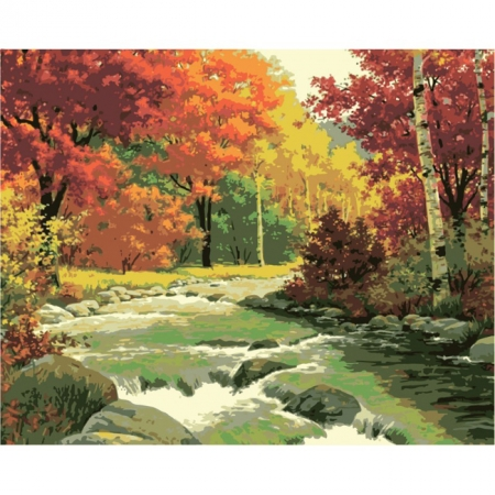 Золотая осень, серия Городской пейзаж, рисование по номерам, 40 х 50 см, Идейка, Золотая осень (KH2125)