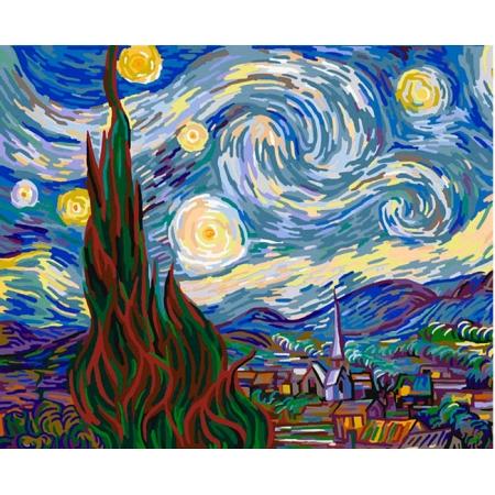 Звездная ночь. Ван Гог, серия Люди, рисование по номерам, 40 x 50 см, Идейка, KH124